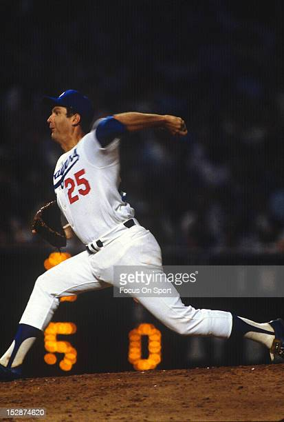 Pitcher Tommy John of the Los Angeles Dodgers pitches during an Major League Baseball game circa 1974 at Dodger Stadium in Los Angeles California...