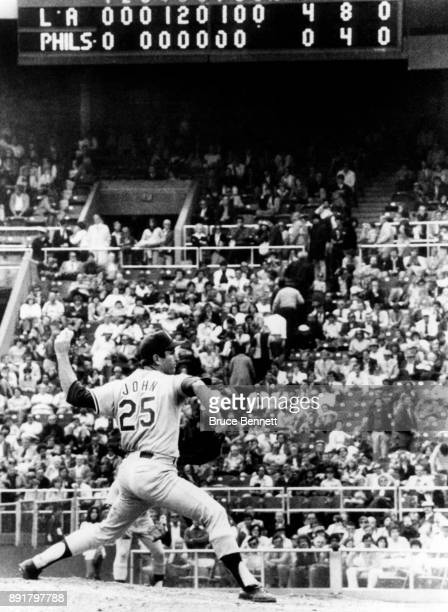Pitcher Tommy John of the Los Angeles Dodgers throws the pitch in the ninth inning during Game 2 of the 1978 National League Championship Series...