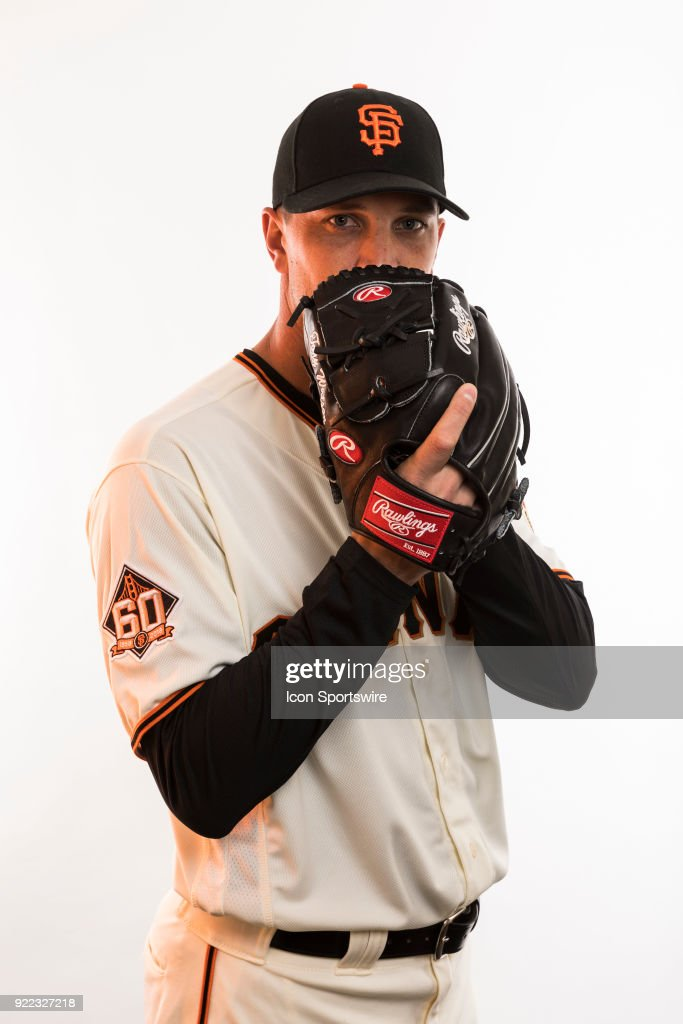 Pitcher Tony Watson (56) poses for a photo during the San Francisco Giants photo day on Tuesday, Feb. 20, 2018 at Scottsdale Stadium in Scottsdale, Ariz.