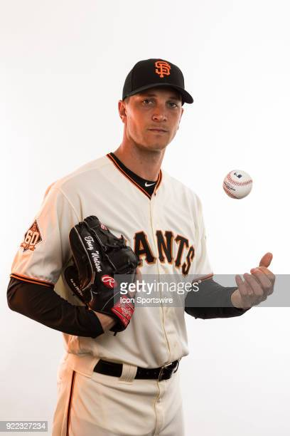 Pitcher Tony Watson poses for a photo during the San Francisco Giants photo day on Tuesday Feb 20 2018 at Scottsdale Stadium in Scottsdale Ariz