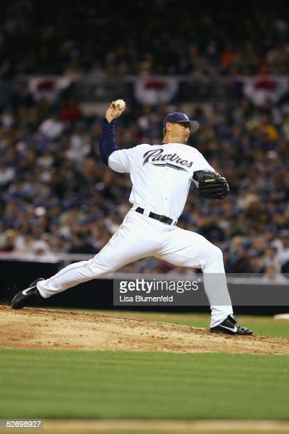 Pitcher Trevor Hoffman of the San Diego Padres delivers a pitch against the Pittsburgh Pirates during the game on April 7, 2005 at Petco Park in San...