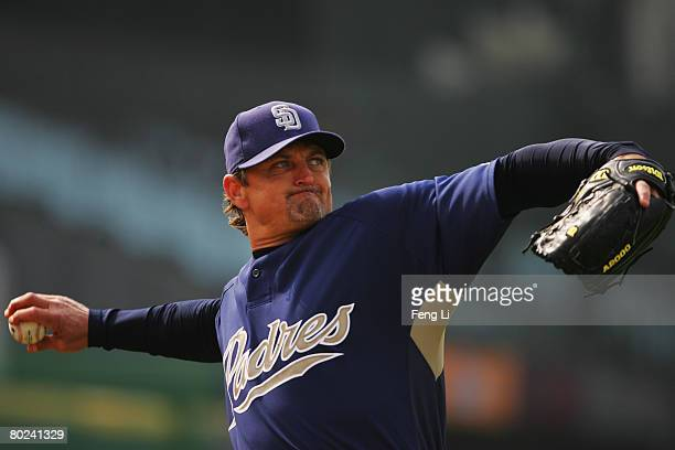 Pitcher Trevor Hoffman of the San Diego Padres in action during the 2008 Major League Baseball China Series training at Beijing's Wukesong Stadium on...