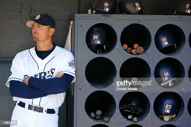 Pitcher Trevor Hoffman of the San Diego Padres leans on the dugout bat rack during the MLB game against the Arizona Diamondbacks on September 19 2002...