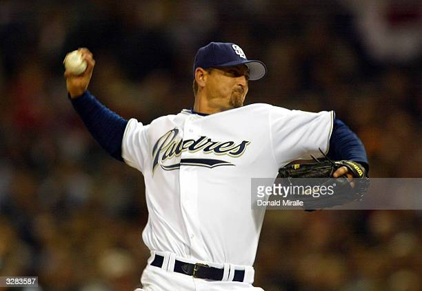 Pitcher Trevor Hoffman of the San Diego Padres pitches against the San Francisco Giants during Opening Day at Petco Park on April 8, 2004 in San...
