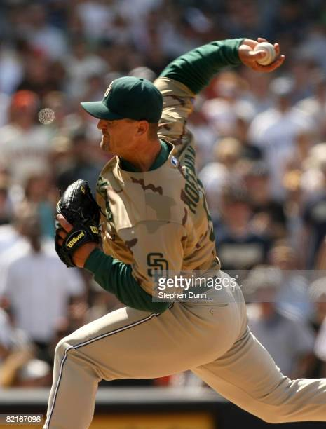 Pitcher Trevor Hoffman of the San Diego Padres throws a pitch in the ninth inning on his way to picking up a save against the San Francisco Giants at...