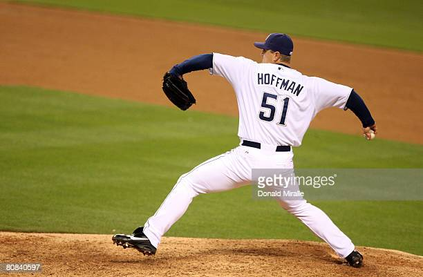 Pitcher Trevor Hoffman of the San Diego Padres throws against the San Francisco Giants during the ninth inning April 23 2008 at Petco Park in San...