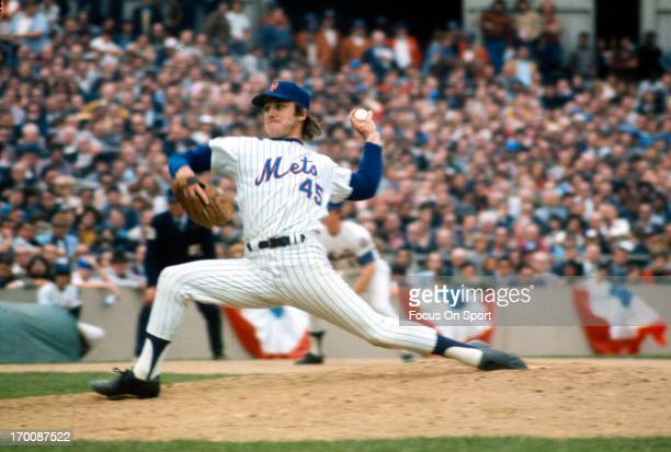 Pitcher Tug McGraw of the New York Mets pitches against the Baltimore Orioles during The 1969 World Series October 1969 at Shea Stadium In the Queens...