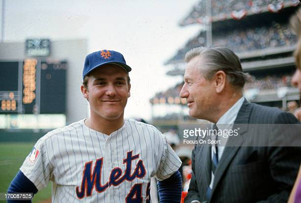 Pitcher Tug McGraw of the New York Mets smiling in this portrait during The 1969 World Series against the Baltimore Orioles October 1969 at Shea...