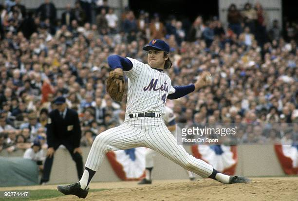 Pitcher Tug McGraw of the New York Mets throws a pitch against the Baltimore Orioles during a world series game circa October 1969 at Shea Stadium In...