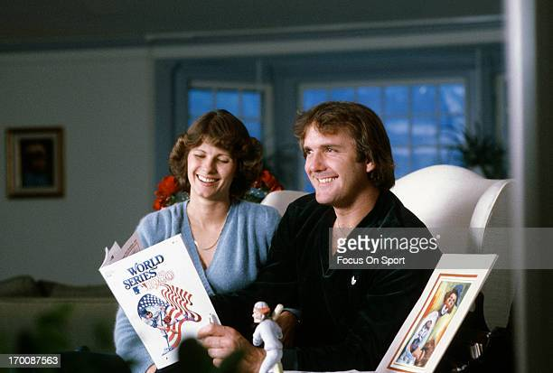 Pitcher Tug McGraw of the Philadelphia Phillies in this portrait with his wife Diane looking at the 1980 World Series program circa 1980 McGraw...