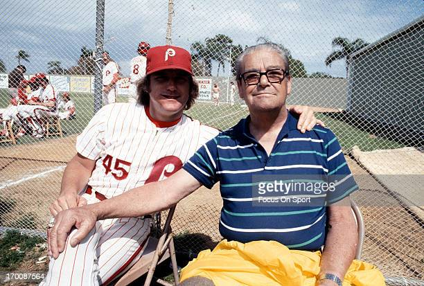 Pitcher Tug McGraw of the Philadelphia Phillies in this portrait with his father Frank McGraw during Major League Baseball spring training circa 1978...