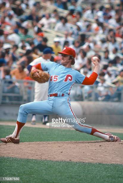 Pitcher Tug McGraw of the Philadelphia Phillies pitches against the New York Mets during an Major League Baseball game circa 1976 at Shea Stadium in...
