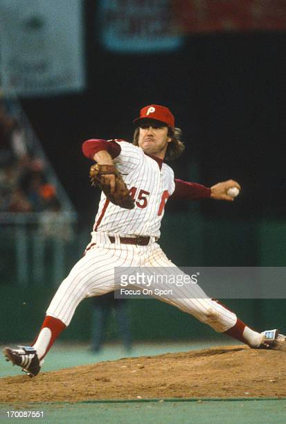 Pitcher Tug McGraw of the Philadelphia Phillies pitches against the Kansas City Royals in game six of the 1980 World Series at Veterans Stadium in...