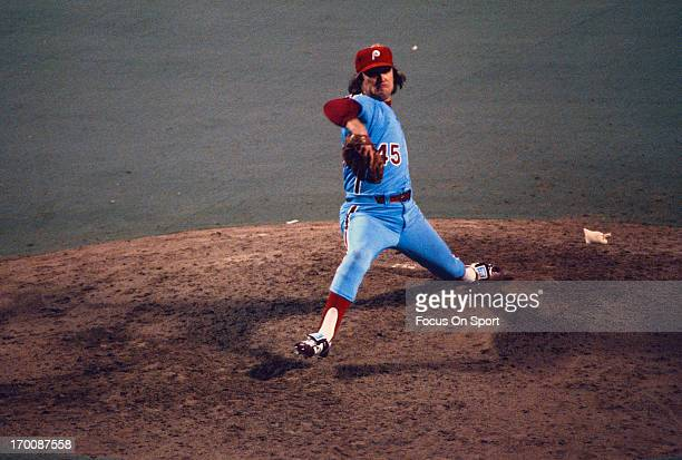 Pitcher Tug McGraw of the Philadelphia Phillies pitches against the Kansas City Royals during the 1980 World Series at Royals Stadium in Kansas City...