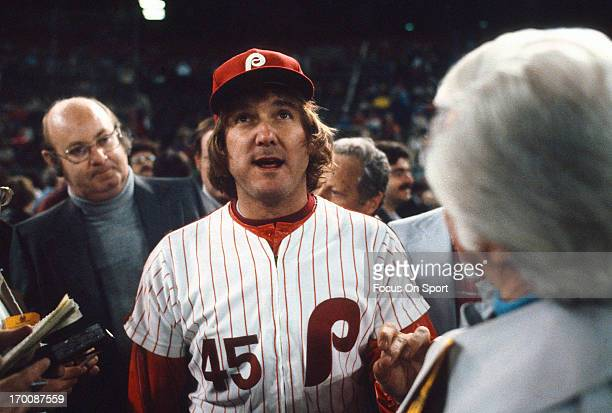 Pitcher Tug McGraw of the Philadelphia Phillies talks with the Media after defeating the Kansas City Royals in game six of the 1980 World Series at...