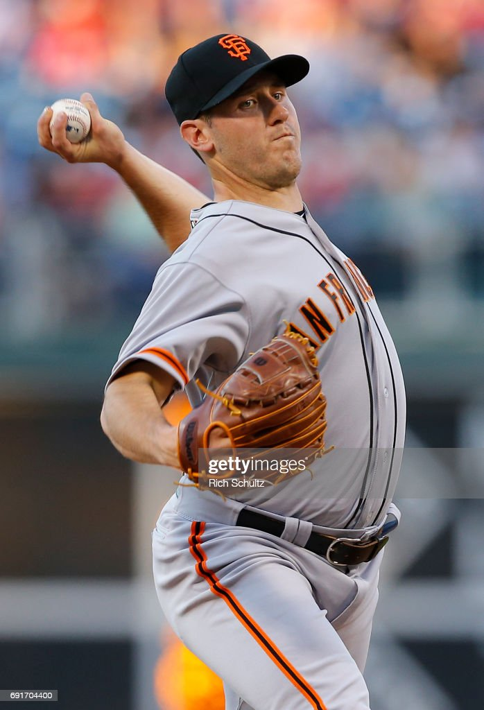 Pitcher Ty Blach #50 of the San Francisco Giants delivers a pitch against the Philadelphia Phillies during the second inning of a game at Citizens Bank Park on June 2, 2017 in Philadelphia, Pennsylvania. The Giants defeated the Phillies 10-0 on a complete game shutout by Blach.