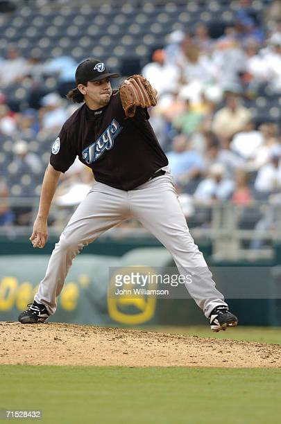 Pitcher Ty Taubenheim of the Toronto Blue Jays pitches during the game against the Kansas City Royals at Kauffman Stadium on July 9 2006 in Kansas...