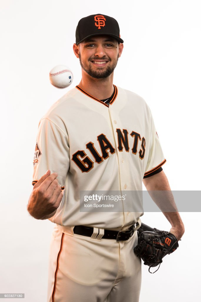 Pitcher Tyler Beede (38) poses for a photo during the San Francisco Giants photo day on Tuesday, Feb. 20, 2018 at Scottsdale Stadium in Scottsdale, Ariz.