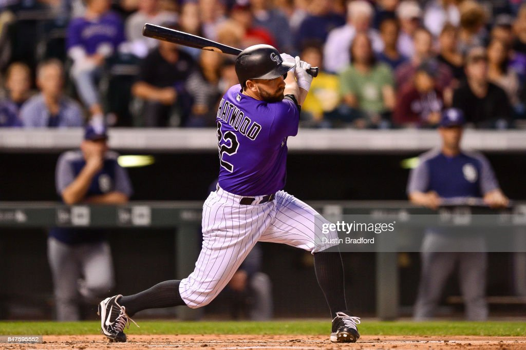 Pitcher Tyler Chatwood #32 of the Colorado Rockies delivers a bases-loaded 2-RBI single in the second inning of a game against the San Diego Padres at Coors Field on September 15, 2017 in Denver, Colorado.