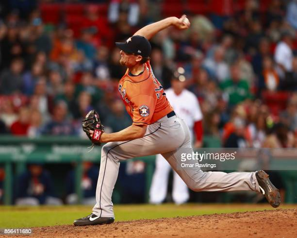 Pitcher Tyler Clippard of the Houston Astros pitches in the bottom of the ninth inning during the game against the Boston Red Sox at Fenway Park on...