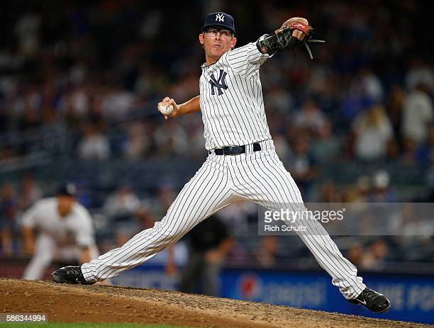 Pitcher Tyler Clippard of the New York Yankees delivers a pitch against the New York Mets during a game at Yankee Stadium on August 3 2016 in the...
