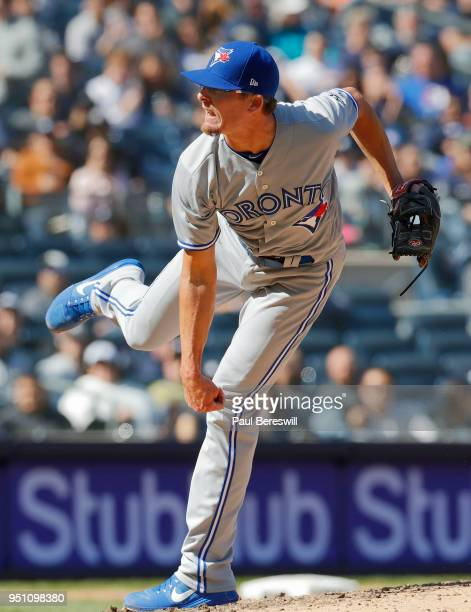 Pitcher Tyler Clippard of the Toronto Blue Jays reacts in an MLB baseball game against the New York Yankees on April 21 2018 at Yankee Stadium in the...