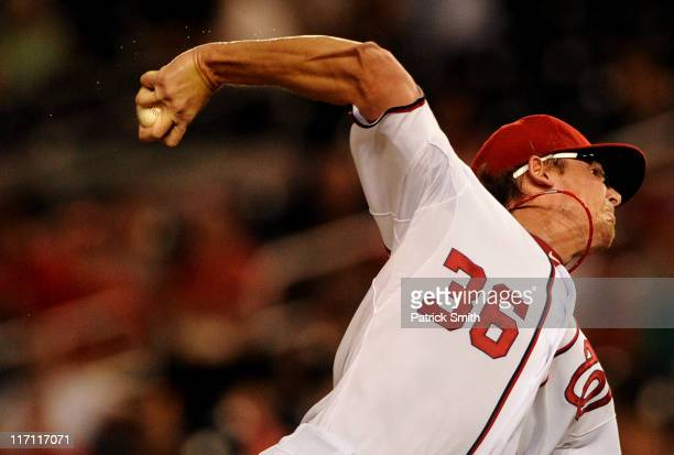 Pitcher Tyler Clippard of the Washington Nationals works the sixth inning against the Seattle Mariners at Nationals Park on June 22 2011 in...