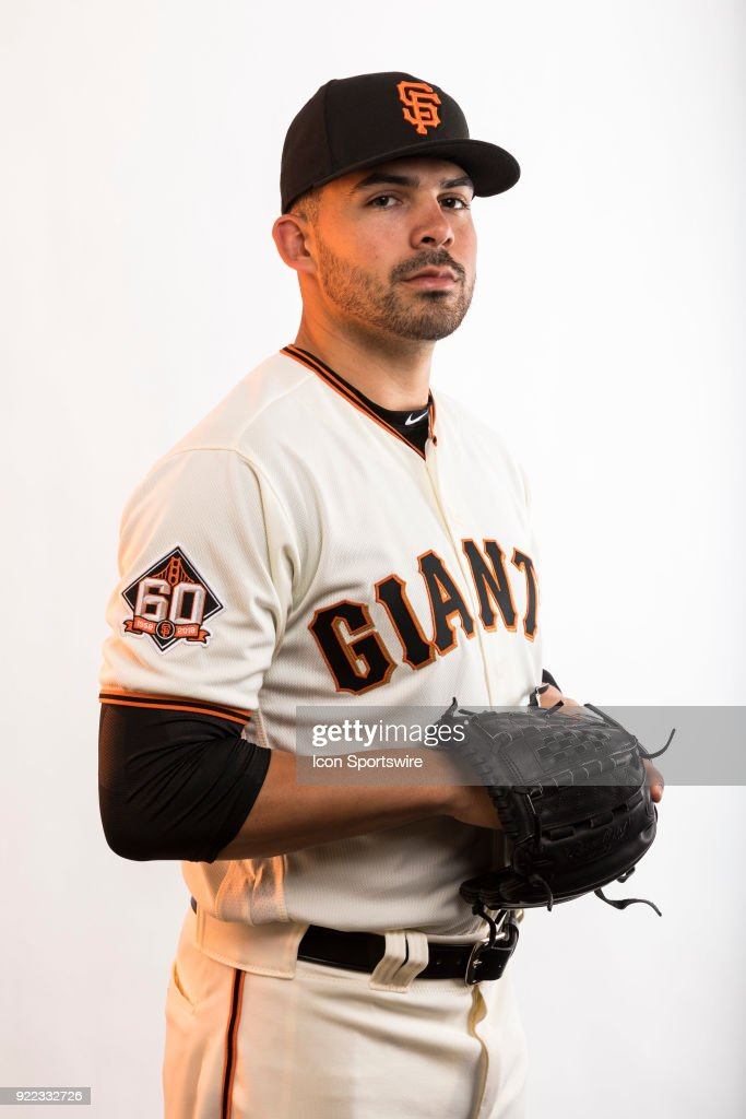 Pitcher Tyler Cyr (87) poses for a photo during the San Francisco Giants photo day on Tuesday, Feb. 20, 2018 at Scottsdale Stadium in Scottsdale, Ariz.