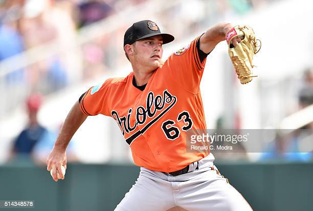 Pitcher Tyler Wilson of the Baltimore Orioles pitches during a spring training game against the Minnesota Twins at Hammond Stadium on March 5, 2016...
