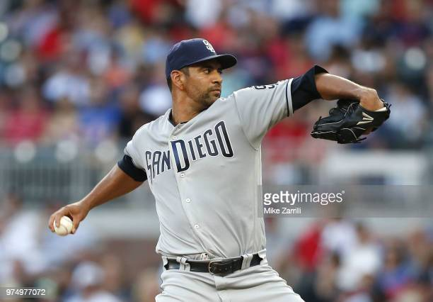 Pitcher Tyson Ross of the San Diego Padres throws a pitch in the third inning during the game against the Atlanta Braves at SunTrust Park on June 14...