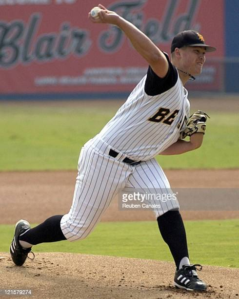 Pitcher Vance Worley of the Long Beach State Dirtbags delivers to the plate as they defeated visiting Univeristy of IllinoisChicago Flames 10 to 0 on...