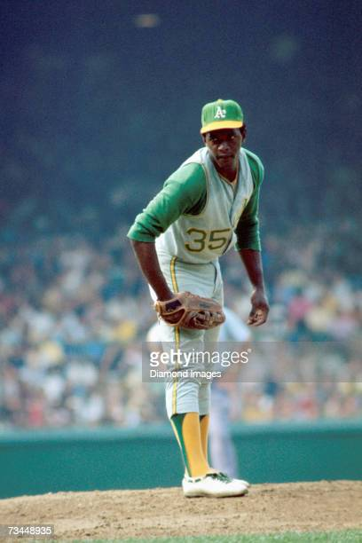 Pitcher Vida Blue of the Oakland A's throws a pitch during the second game of a doubleheader on July 25 1971 at Tiger Stadium in Detroit Michigan