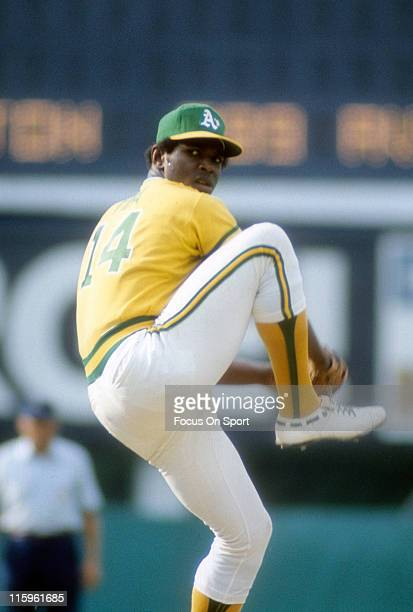 Pitcher Vida Blue of the Oakland Athletics pitches during a Major League Baseball game circa 1976 Blue played for the Athletics from 196977