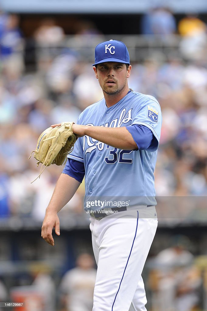 Pitcher Vin Mazzaro #32 of the Kansas City Royals looks to the dugout as he walks off the field after the third out of the inning in the game against the Oakland Athletics on June 3, 2012 at Kauffman Stadium in Kansas City, Missouri. The Kansas City Royals defeated the Oakland Athletics 2-0.