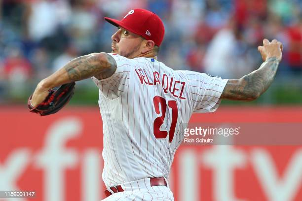 Pitcher Vince Velasquez of the Philadelphia Phillies delivers a pitch against the Los Angeles Dodgers during the first inning of a baseball game at...