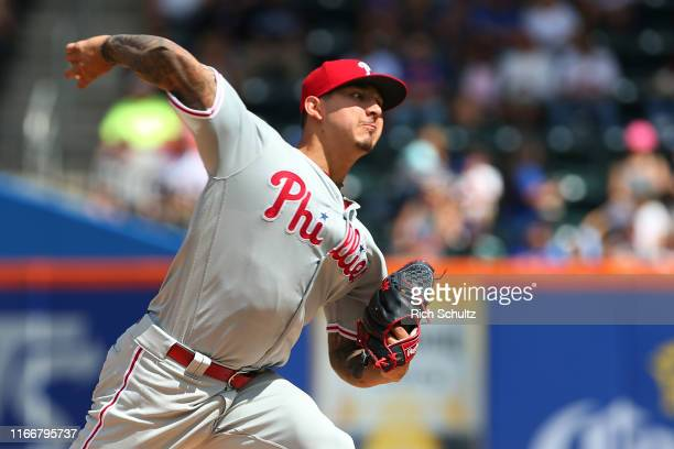Pitcher Vince Velasquez of the Philadelphia Phillies delivers a pitch against the New York Mets during the first inning of a game at Citi Field on...