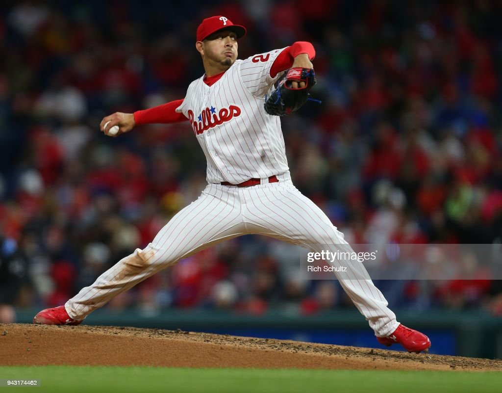 Pitcher Vince Velasquez #28 of the Philadelphia Phillies delivers a pitch during the fourth inning of a game against the Miami Marlins at Citizens Bank Park on April 7, 2018 in Philadelphia, Pennsylvania. The Phillies defeated the Marlins 20-1.