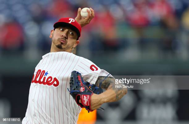 Pitcher Vince Velasquez of the Philadelphia Phillies delivers a pitch against the Atlanta Braves during the second inning of a game at Citizens Bank...