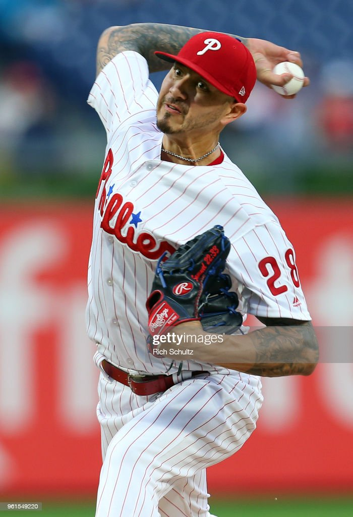 Pitcher Vince Velasquez #28 of the Philadelphia Phillies delivers a pitch against the Atlanta Braves during the first inning of a game at Citizens Bank Park on May 22, 2018 in Philadelphia, Pennsylvania.The Braves defeated the Phillies 3-1.
