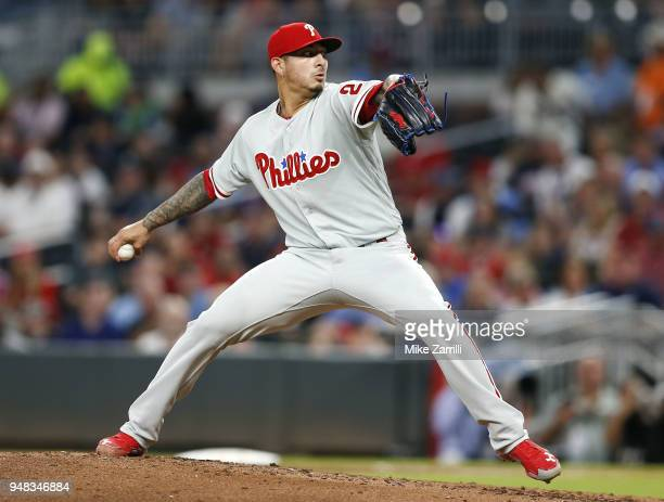 Pitcher Vince Velasquez of the Philadelphia Phillies throws a pitch in the third inning during the game against the Atlanta Braves at SunTrust Park...