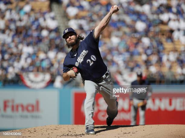 Pitcher Wade Miley of the Milwaukee Brewers pitches during the first inning of Game Five of the National League Championship Series against the Los...