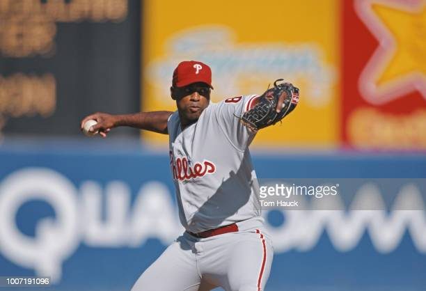 Pitcher Wayne Gomes of the Philadelphia Phillies throwing during the Major League Baseball National League West game against the San Diego Padres on...