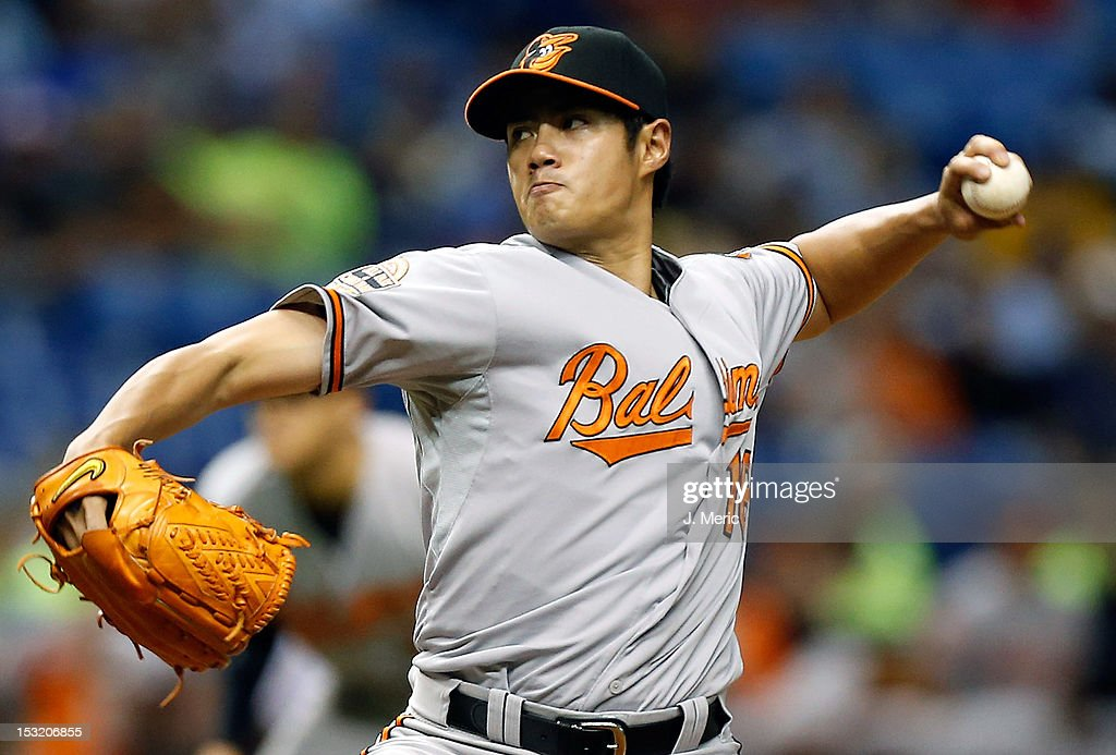Pitcher Wei-Yin Chen #16 of the Baltimore Orioles pitches against the Tampa Bay Rays during the game at Tropicana Field on October 1, 2012 in St. Petersburg, Florida.