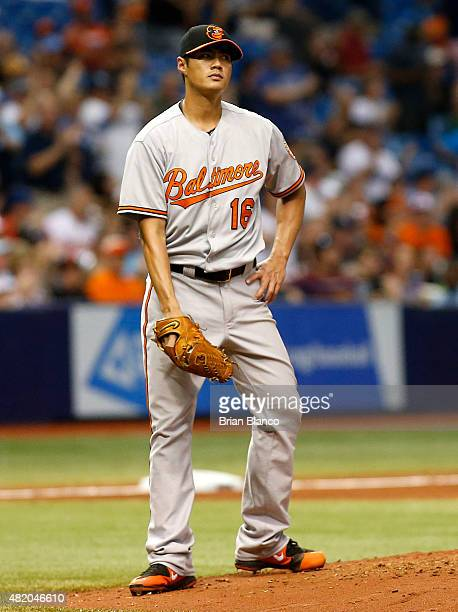 Pitcher WeiYin Chen of the Baltimore Orioles reacts on the mound after giving up a home run to Logan Forsythe of the Tampa Bay Rays on his first...
