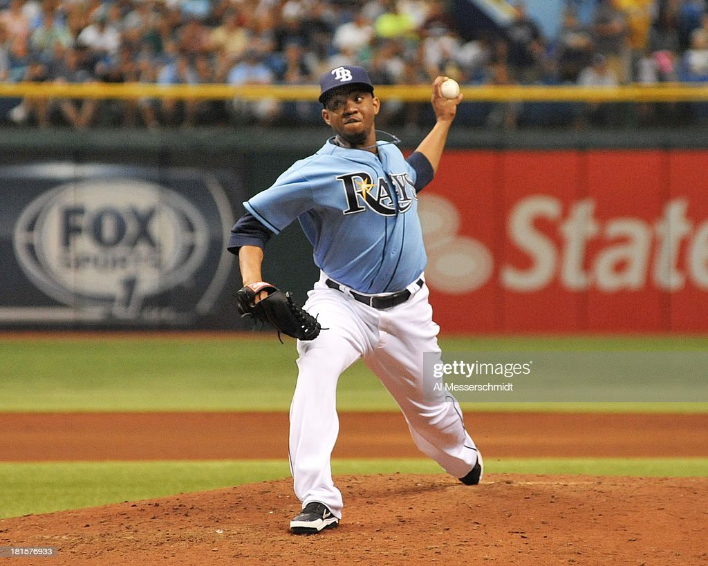 Pitcher Wesley Wright #49 of the Tampa Bay Rays throws in relief against the Baltimore Orioles September 22, 2013 at Tropicana Field in St. Petersburg, Florida.