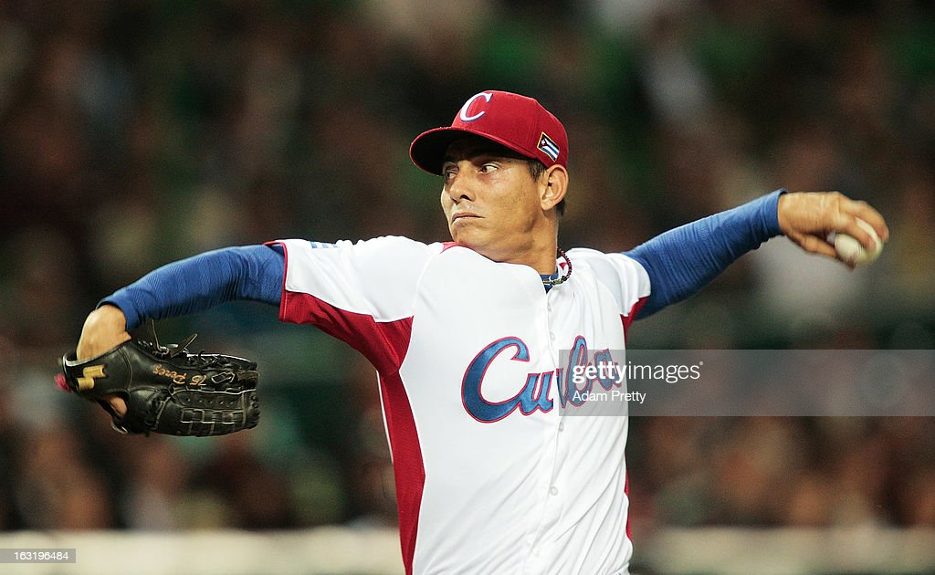 Pitcher Wilber Perez #75 of Cuba pitches during the World Baseball Classic First Round Group A game between Japan and Cuba at Fukuoka Yahoo! Japan Dome on March 6, 2013 in Fukuoka, Japan.