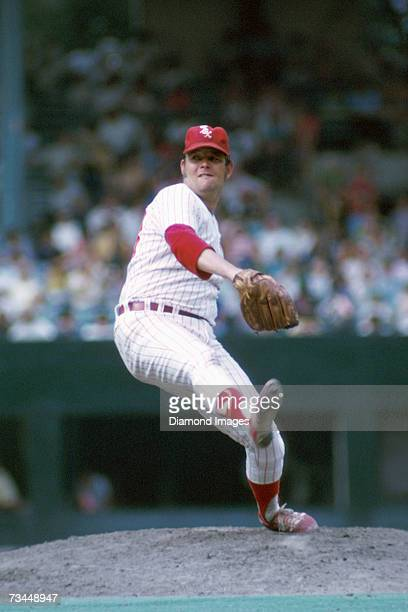 Pitcher Wilbur Wood, of the Chicago White Sox, on the mound during a game in 1972 at Comiskey Park in Chicago, Illinois.