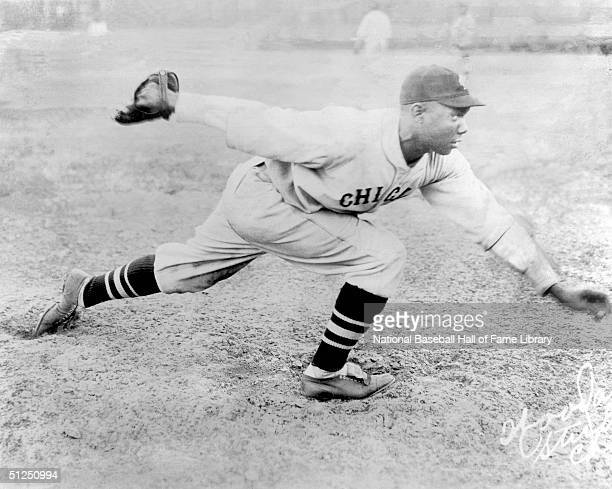 Pitcher Willie Foster of the Chicago American Giants poses as he pitches before a season game Willie Foster played for the Negro Leagues' Memphis Red...