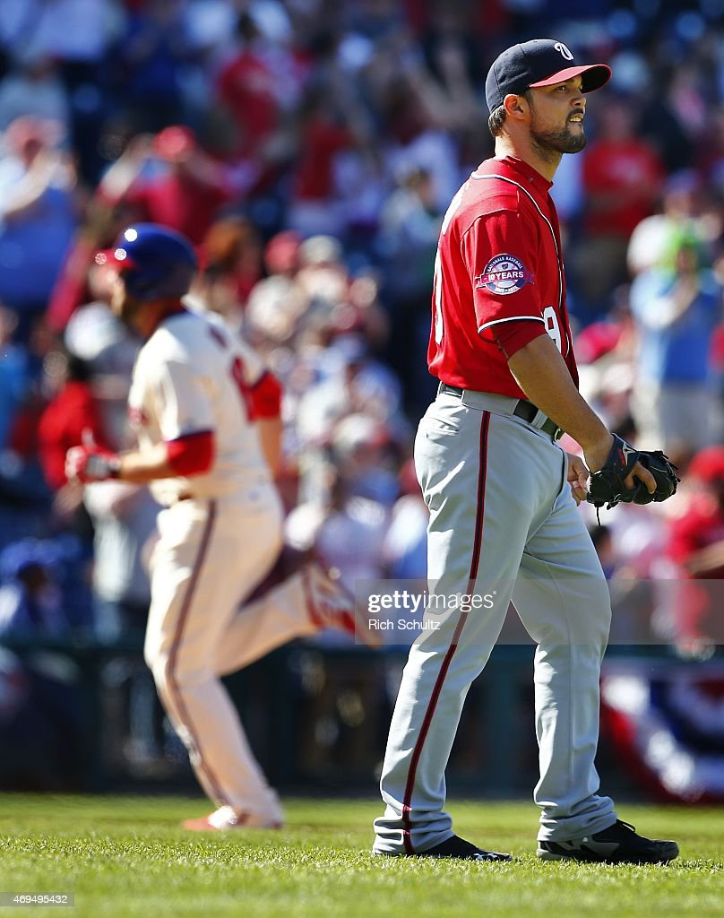 Pitcher Xavier Cedeno #29 looks away as Darin Ruf #18 of the Philadelphia Phillies circles the bases after hitting a home run during the seventh inning of a game at Citizens Bank Park on April 12, 2015 in Philadelphia, Pennsylvania.