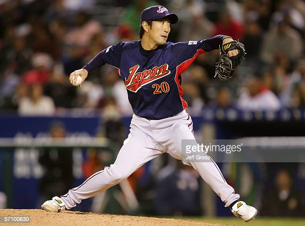 Pitcher Yasuhiko Yabuta of Team Japan pitches against Team Mexico during the Round 2 Pool 2 Game of the World Baseball Classic at Angel Stadium on...